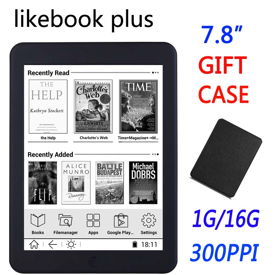 BOYUE Likebook Plus 7.8 inch ebook Reader touch screen 300ppi 1G/16GB 2800mAh Bluetooth wifi Backlight e-book ereader gift cover