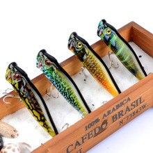 2017新しい4ピースポッパー釣りクランクベイトフローティング釣りタックルwobblers 3d目absプラスチックハード餌6 #フック94ミリメートル12.1グラム