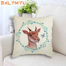 Animal Deer Flower Print Cushion Nordic throw Pillow Bedding Festival Couch Chair Cotton Linen Decorative Pillowcase 45*45cm