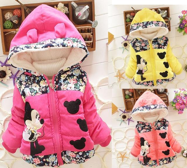 Crianças inverno rato nova bonito dos desenhos animados meninas jaqueta de algodão acolchoado casaco grosso 2351
