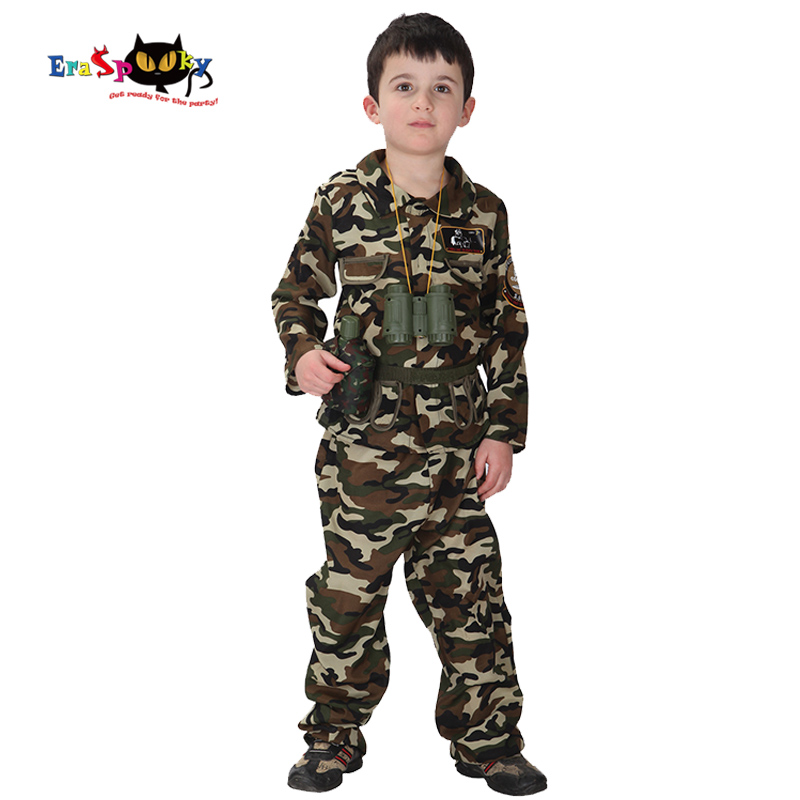 Eraspooky Special forces camouflage Boys Military Army Cosplay Halloween Costume Kids Purim Carnival Game Outdoor Fancy dress