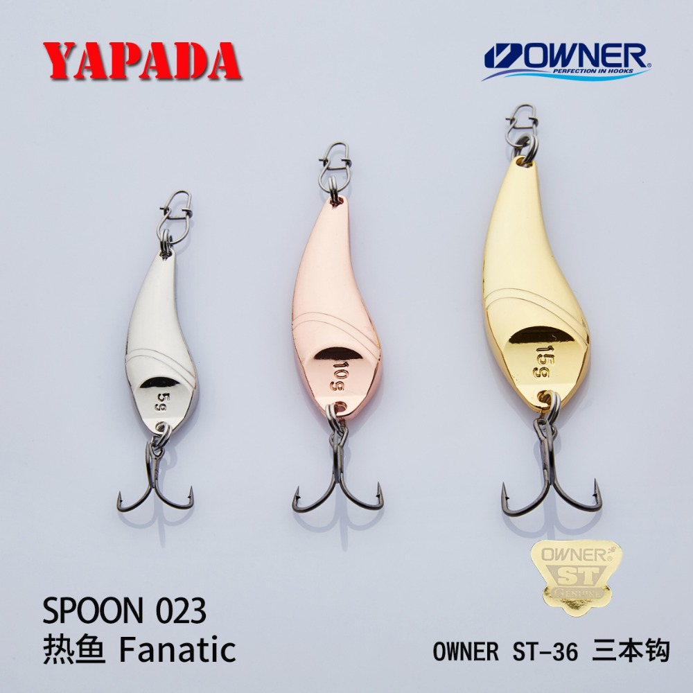 YAPADA Spoon 023 Fanatic OWNER Treble Hook 5g-10g-15g 40-48-56mm Feather Metal Spoon Multicolor Fishing Lures