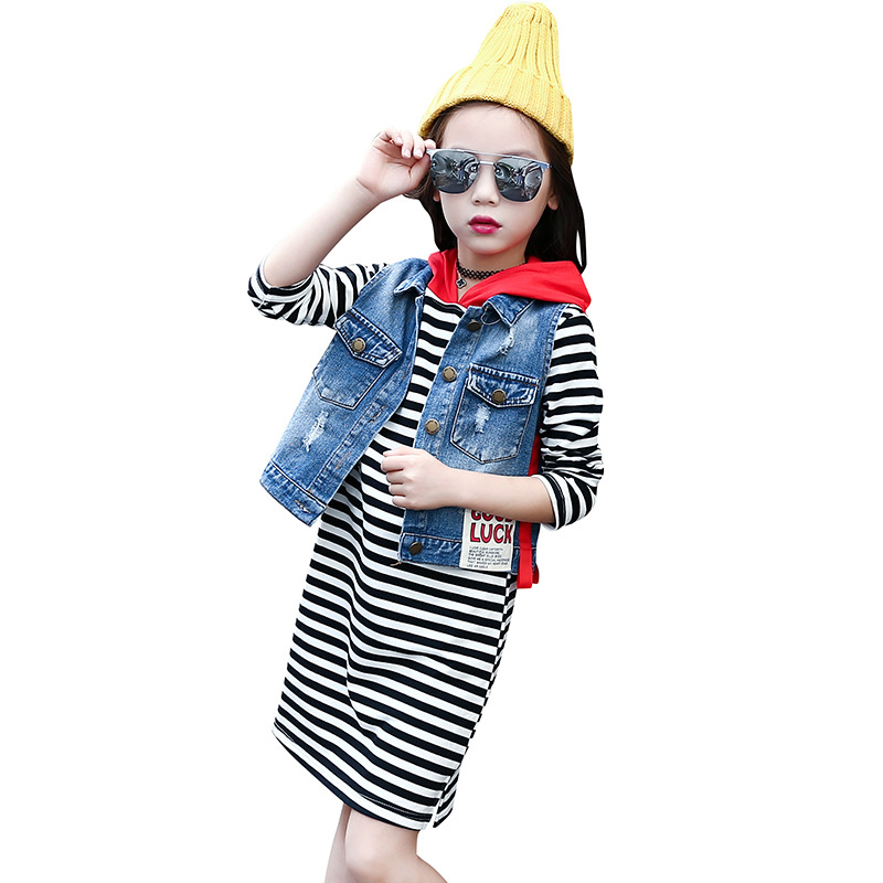 2017 New Autumn Fashion Cowboy Vest + Striped Dress 2 Pieces Girls Clothing Sets 4 6 8 10 12 14 Children Clothing tops dress girls dresses girl clothes autumn style fashion cowboy vest 2017 new 2 pieces set