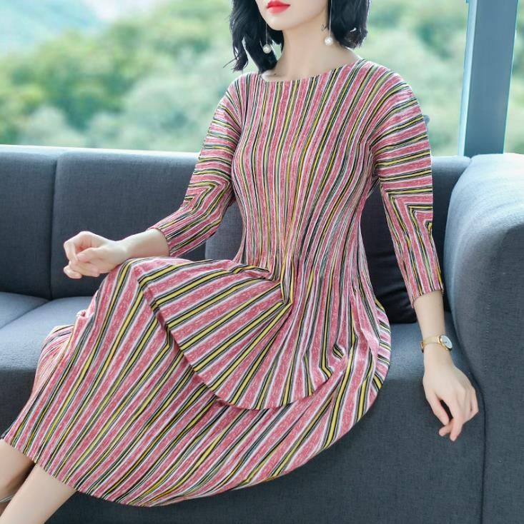 Print streep slanke plaid jurk lente 2019 nieuwe middellange en lange stijl temperament potlood jurk gratis verzending - 6