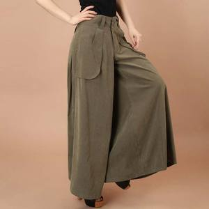 Image 3 - Plus size spring Summer Women solid Wide Leg Loose Dress Pants Female Casual Skirt Trousers Capris Culottes