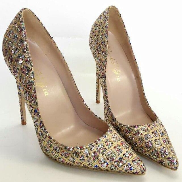 Keshangjia women Pumps Bling High Heels Women Pumps Glitter High Heel Shoes Woman Sexy Wedding Party