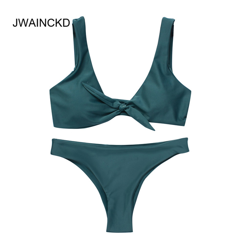 JWAINCKD Bikini Knotted Padded Thong Bikini Set Women Swimwear Swimsuit Scoop Neck Solid High Cut Bathing Suit Brazilian Biquni