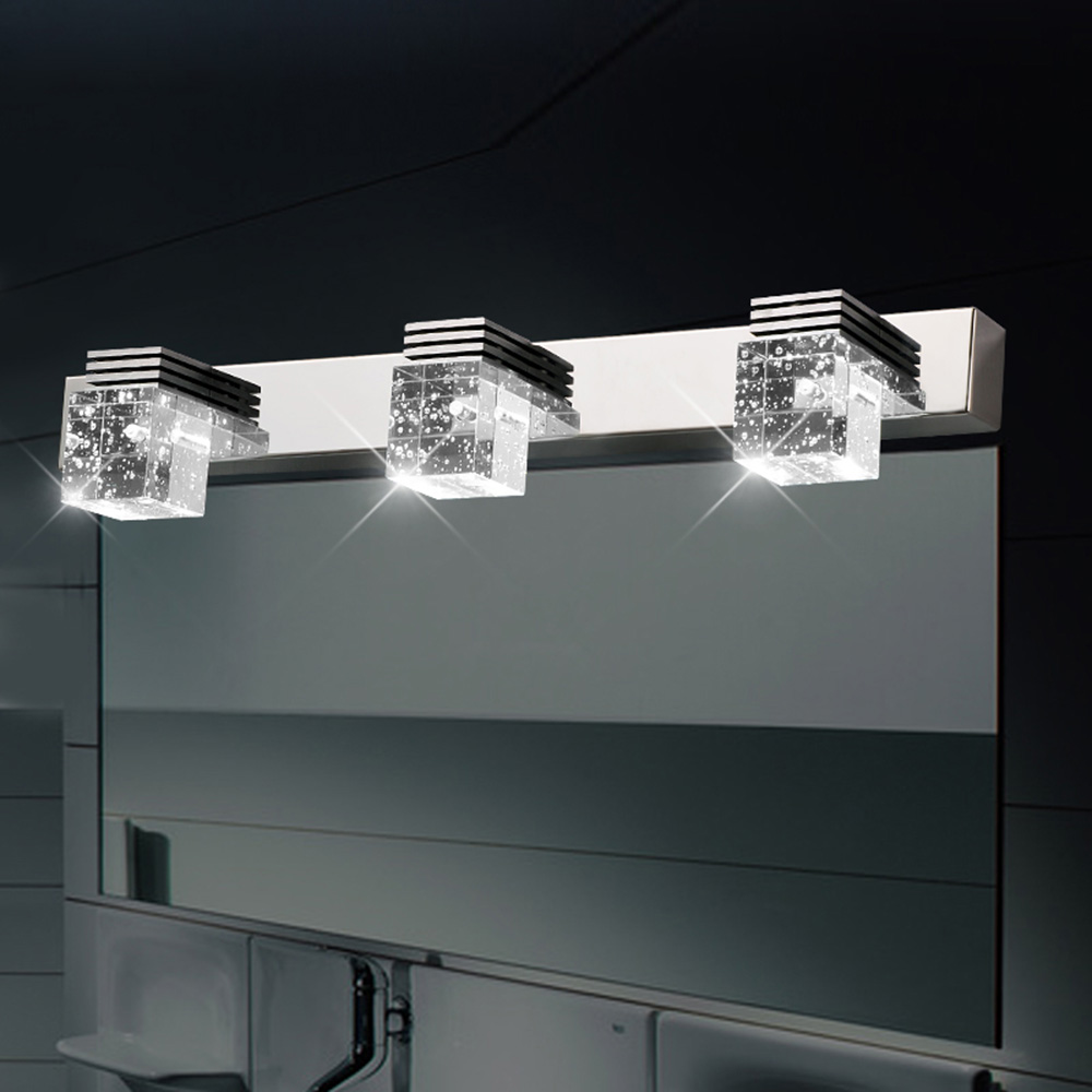 Modern K9 Crystal LED Bathroom Cabinet Makeup Mirror Lamp Stainless Steel Wall Sconce Lamp Vanity Lighting Light FixturesModern K9 Crystal LED Bathroom Cabinet Makeup Mirror Lamp Stainless Steel Wall Sconce Lamp Vanity Lighting Light Fixtures