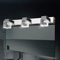 Modern K9 Crystal LED Bathroom Cabinet Makeup Mirror Lamp Stainless Steel Wall Sconce Lamp Vanity Lighting Light Fixtures
