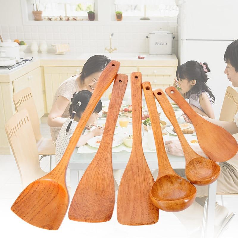 Kitchen Utensils Dinnerware Sets 6Pcs/Set Cooking Tool Sets Truner Ladle Wood Non-stick Cookware High Temperature Resistance