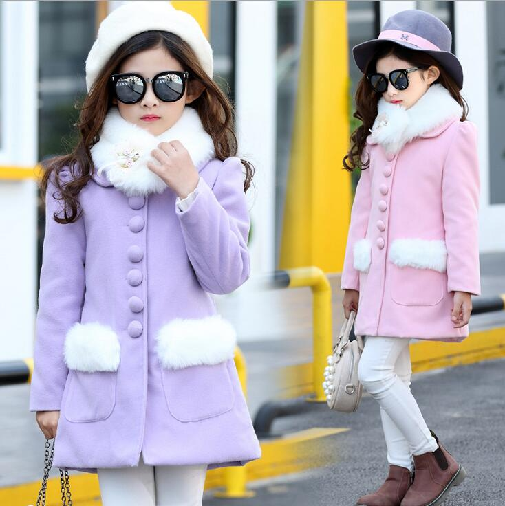 Fake Fur Collar Woolen Coats For Girls Single-breasted Solid Color Coats Long Sleeve Children's Jacket Manteau Fille Hiver brief polo collar solid color long sleeve long blouse for women