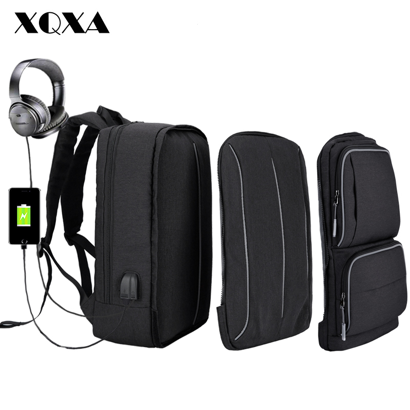 XQXA Backpack for Men Travel 17 Inch Laptop Backpack School Bag for Teenagers USB with Headphone Charge Mochila Large Capacity lielang men pu leather backpack waterproof large capacity 14 inch laptop bag usb charge camouflage backpack bag mochila rucksack