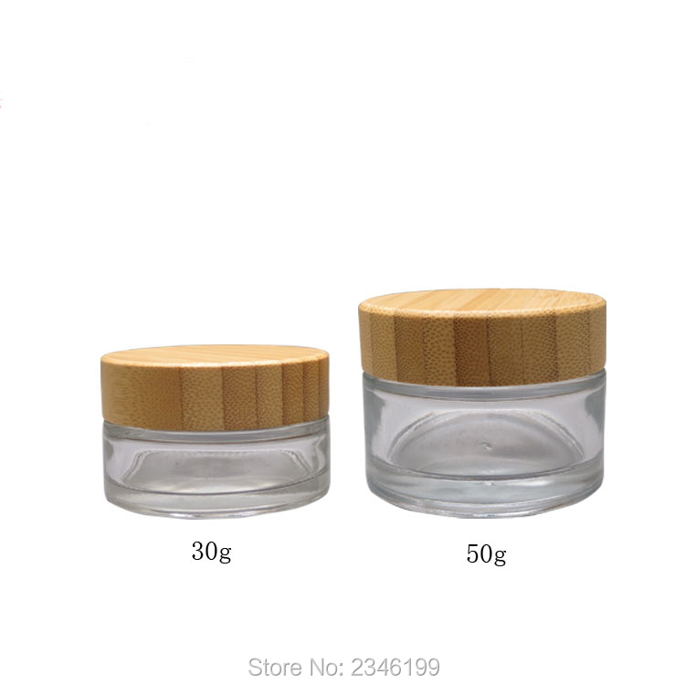 30G 50G 10pcs/lot Clear Glass Cream Container with Bamboo Cap, Round Empty Top Quality Glass Cosmetic Jar, DIY Makeup Tools 6 pcs 15g 30g 50g 1oz empty upscale refillable black cosmetics cream glass bottle container pot case jar with black lid