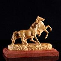 Изысканный деревянный конь статуя скульптура резьба подарки фэн шуй украшения дома украшения миниатюра деревянный двойной лошадь escultura