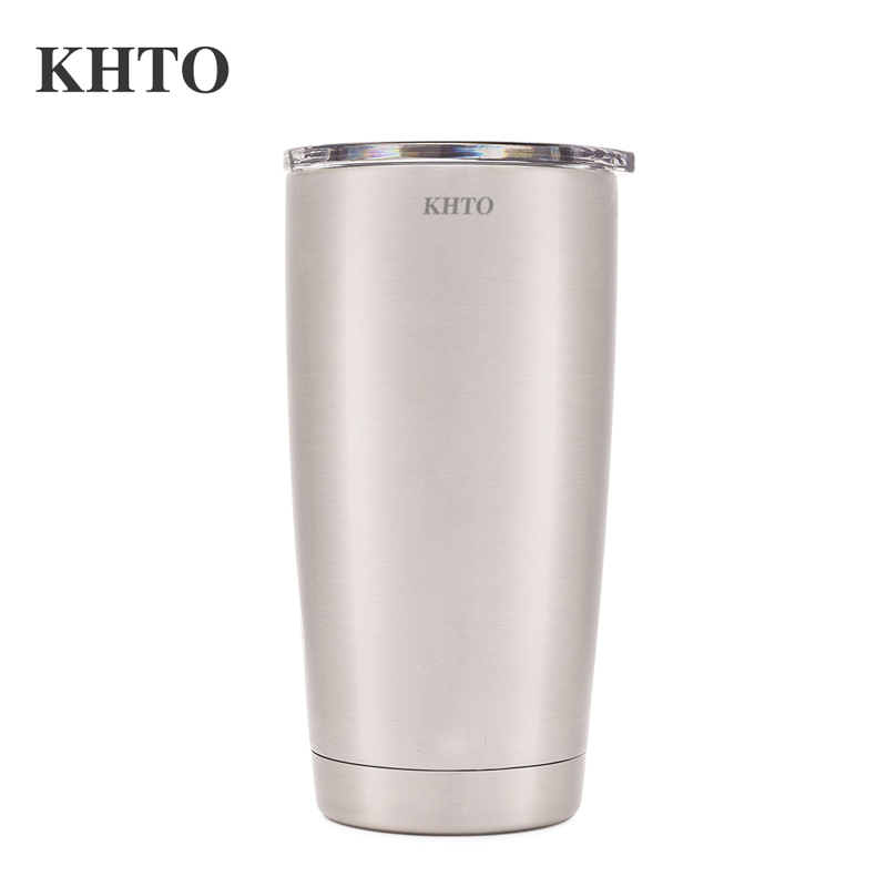 KHTO Stainless Steel Hydro Travel Mug Powder Coated Coffee Cup 20oz Slim Cruiser Tumbler Vacuum Insulated Double Walled