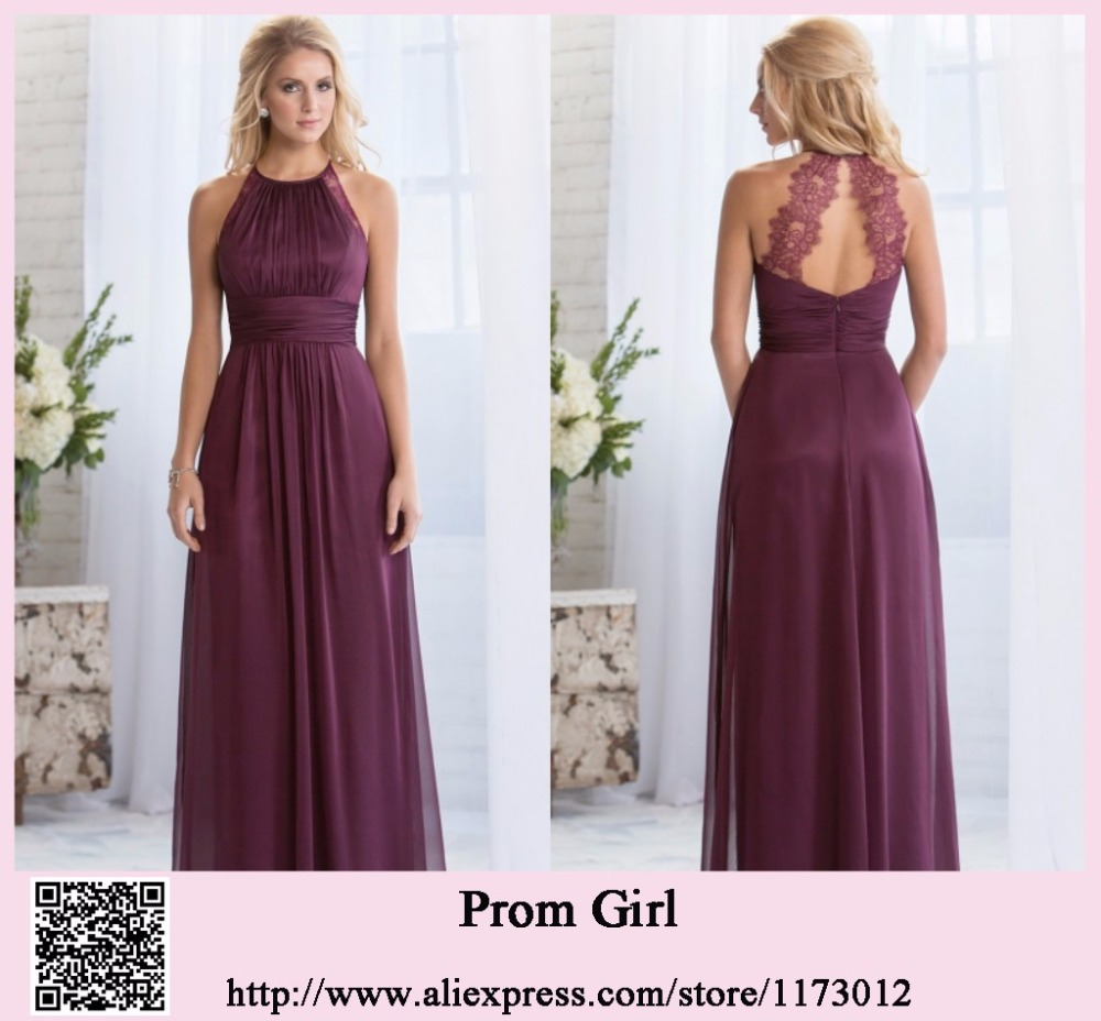 Custom Made Elegant Long Bridesmaid Dress With Lace 2017 Halter Neck Plum For Party Chiffon Vestido De Festa Longo In Dresses From Weddings