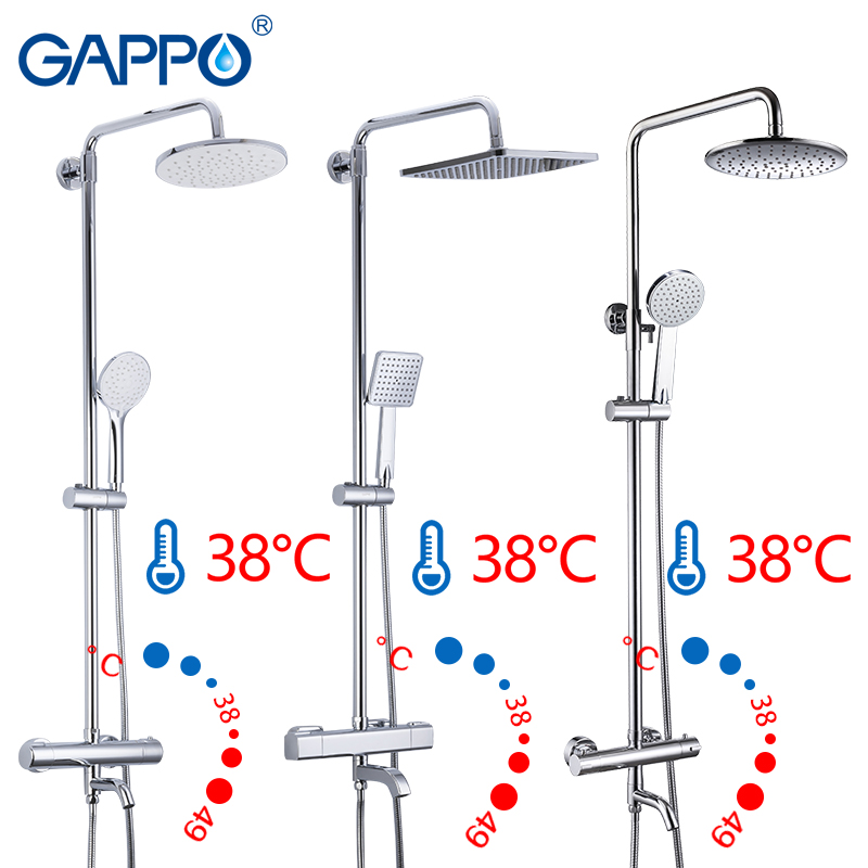 GAPPO Sanitary Ware Suite bathroom thermostatic shower faucet bath shower mixer set waterfall bathtub faucet rain shower head