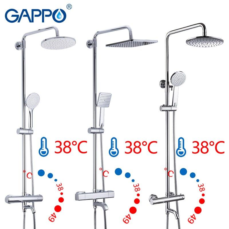 Gappo sanitário ware suíte banheiro termostática torneira do chuveiro banho misturador do chuveiro conjunto cachoeira torneira da banheira chuveiro de chuva cabeça
