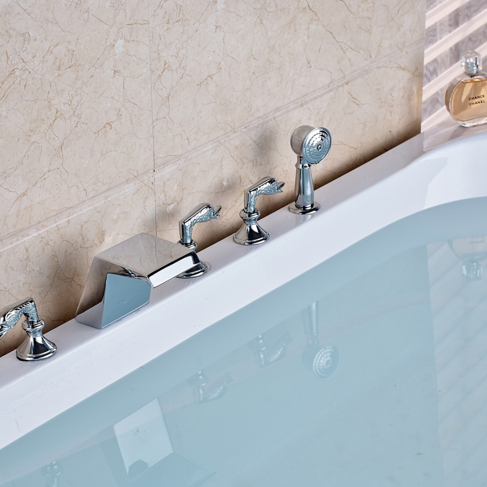 Waterfall Chrome Bathtub Faucet 3 Swan Handles 5 Holes Tub Mixer Tap ...
