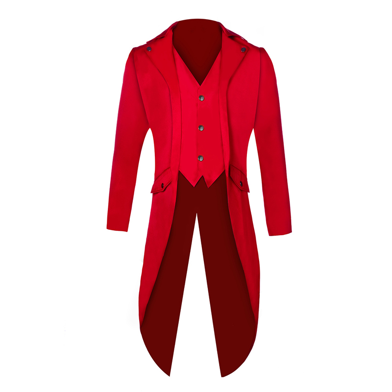 Men Swallow Tailed Coat Solid Color New Fashion Steampunk Retro Tuxedo Wedding Groomsman Slim Fit  Lapel Evening Prom Blazer