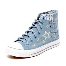 Fashion Glow Cute Floral Denim Shoes for Women 2016 Casual Canvas Shoes Women's High Platform Shoe Girls