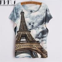 New Fashion Summer Style T Shirt Women 2016 Cool Eiffel Tower 3d Printed T Shirt O