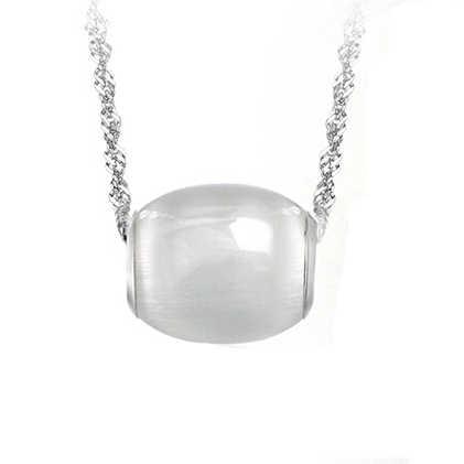 COLLAR COLGANTE ojo de gato brillante, diseño elegante Simple collares de ópalo de moda colgantes chapado en rodio