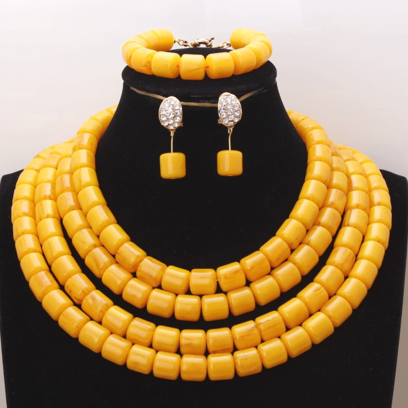 4UJewelry Artificial Coral Beads Jewelry Set For African Nigerian Women Weddings 3 Layers Gold Yellow Dubai Necklace Set 2019