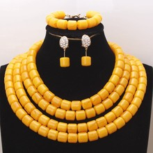 4UJewelry Artificial Coral Beads Jewelry Set For African Nigerian Women Weddings 3 Layers Gold Yellow Dubai Necklace Set 2019 fashion orange red artificial coral necklace nigerian wedding african beads jewelry set for women acb 06