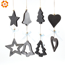 4PCS/Lot Christmas Bell/Star/Heart/Tree Wooden Pendants Ornaments Kids Gifts Xmas Tree Ornament Party Decorations
