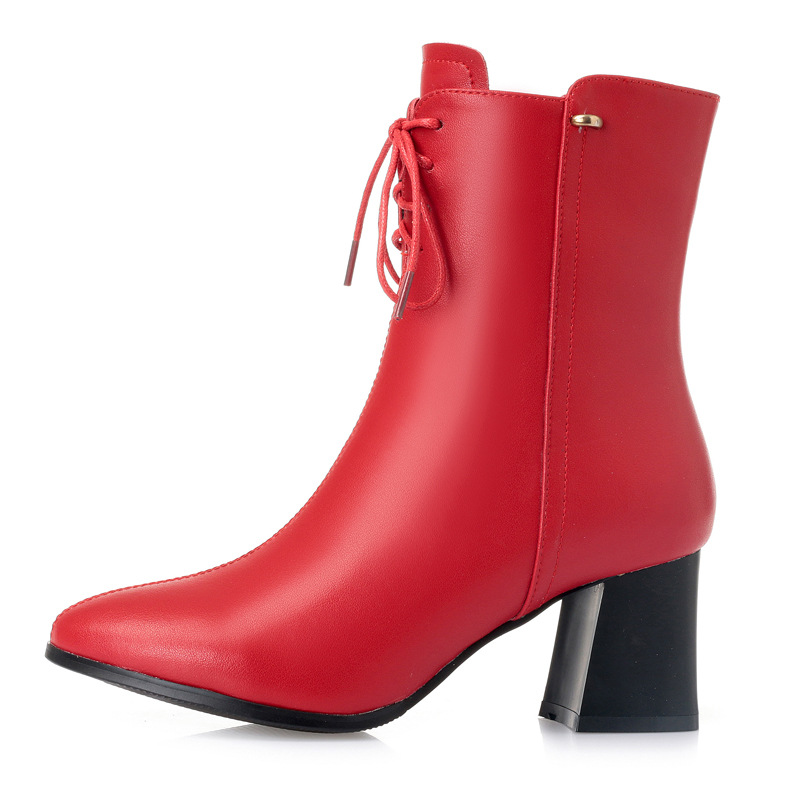 2018 New Autumn and Winter Pointed Genuine Leather Boots Women Boots Elegant Fashion High-heeled Boots Women Shoes Snow Boots autumn winter boots soft leather fur boots women s new thin high heeled ankle boots fashion patchwork shoes boots women 2016