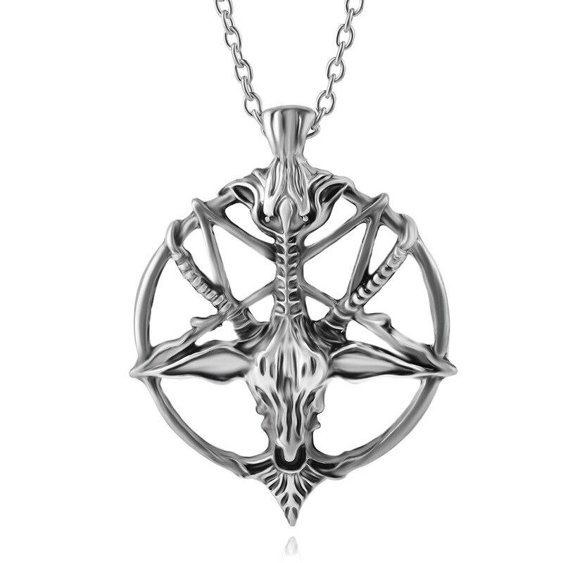 Vintage Hollow Sheep Skulls Pendant Devil Pan God Necklaces Kuroshitsuji Pentagram Skull Round Goat Head Necklace Women Men Gift