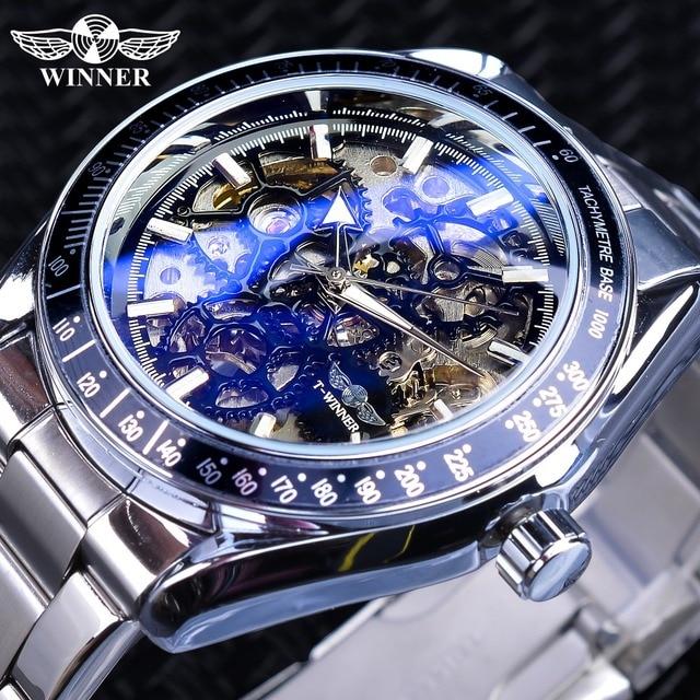 177f87772 الفائز الأزرق الزجاج والعتاد حركة شفافة رجل التلقائي ساعة معصم أعلى العلامة  التجارية الفاخرة الذكور 3D