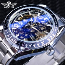 Winner Blue Glass Gear Movement Transparent Mens Automatic Wrist Watch Top Brand Luxury Male 3D Skeleton Mechanical Wrist Watch winner classic design transparent case golden movement inside skeleton wrist watch men watches top brand luxury mechanical watch