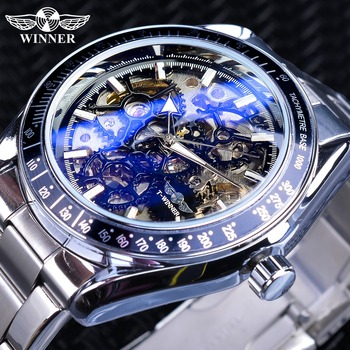 цена Winner Blue Glass Gear Movement Transparent Mens Automatic Wrist Watch Top Brand Luxury Male 3D Skeleton Mechanical Wrist Watch онлайн в 2017 году