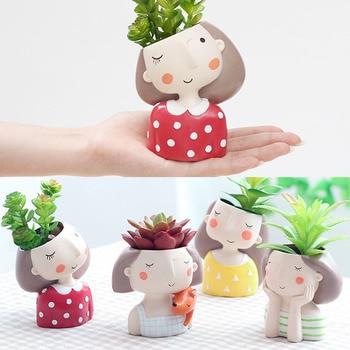 Mini Cute girl boy Planter Flower Pot Home Garden Home Decoration Flowerpot Planter Desktop Vase Home Office Bonsai Pot 1