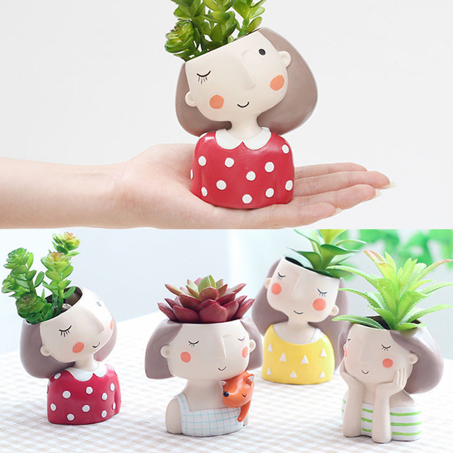 Mini Cute girl boy Planter Flower Pot Home Garden Home Decoration Flowerpot Planter Desktop Vase Home Office Bonsai Pot 1