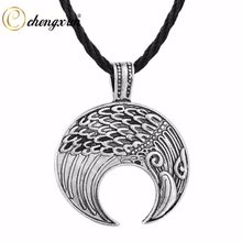 CHENGXUN Hip Hop Eagle Head Pendant Fashion Men Necklace Good Luck Prayer Necklace with Cord Chain Charm Jewelry for Best Friend(China)
