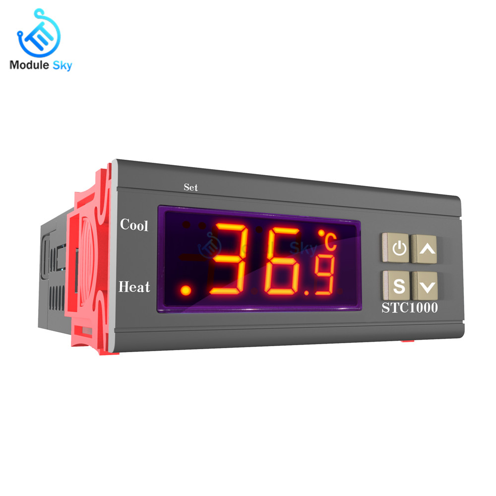 Two Relay Output LED Digital Temperature Controller Thermostat Incubator STC-1000 AC 110V 220V 10A with Heater and Cooler