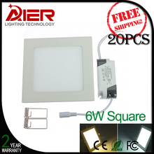 20pcs/lot free shipping 6W led flat panel lighting CE Rohs approved