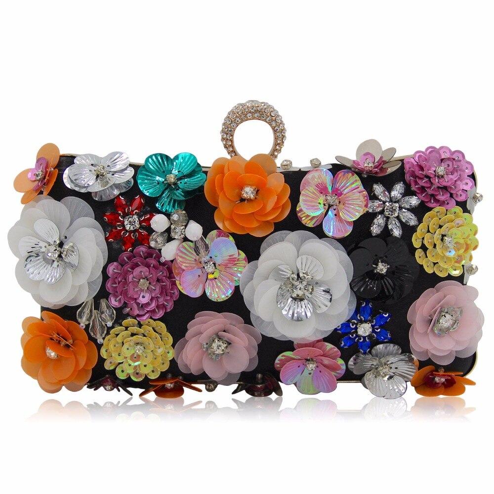 Роскошная обувь с украшением в виде кристаллов клатч вечерняя сумочка; BS010 белый черный цветок партия Кошелек Для женщин свадебные телефон …