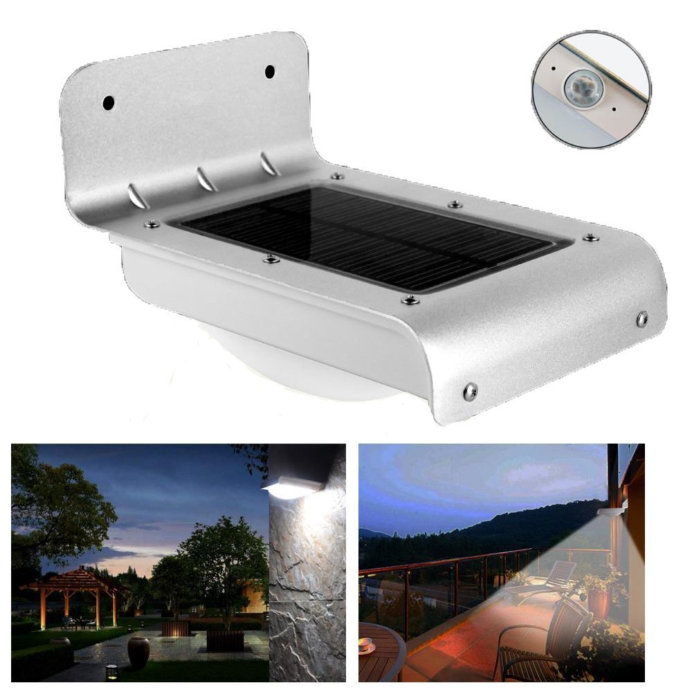 LumiParty New 16 Bright LED Wireless Solar Powered Motion Sensor Light Outdoor Garden Path Wall Mount Gutter Fence Security Lamp