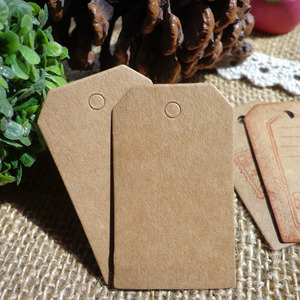 100pcs 3x5cm Bookmark Trapezoid Kraft Blank Paper Tags DIY Creative Note Price Lable Hang Tag Gift Tag