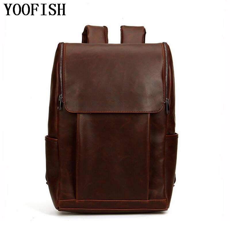 Vintage Casual Genuine Leather Crazy horse leather Women Male Large Capacity Travel Backpack Shoulder Bag Bags Backpacks For Ma simline new vintage casual genuine leather cowhide men mens large capacity travel backpack shoulder bag bags backpacks for man