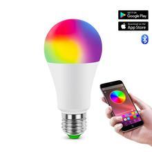 E27 85-265 в светодиодный светильник RGB 15 Вт Bluetooth приложение управление умная лампа 5 Вт 10 Вт RGBW RGBWW светодиодный ИК пульт дистанционного управления домашнее освещение