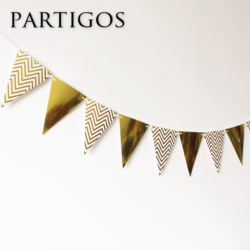 1 set Gold Wave Paper Banner bunting paper Flag Wedding birthday baby shower Party Decor Home Room Backdrop Kids Gifts Supplies