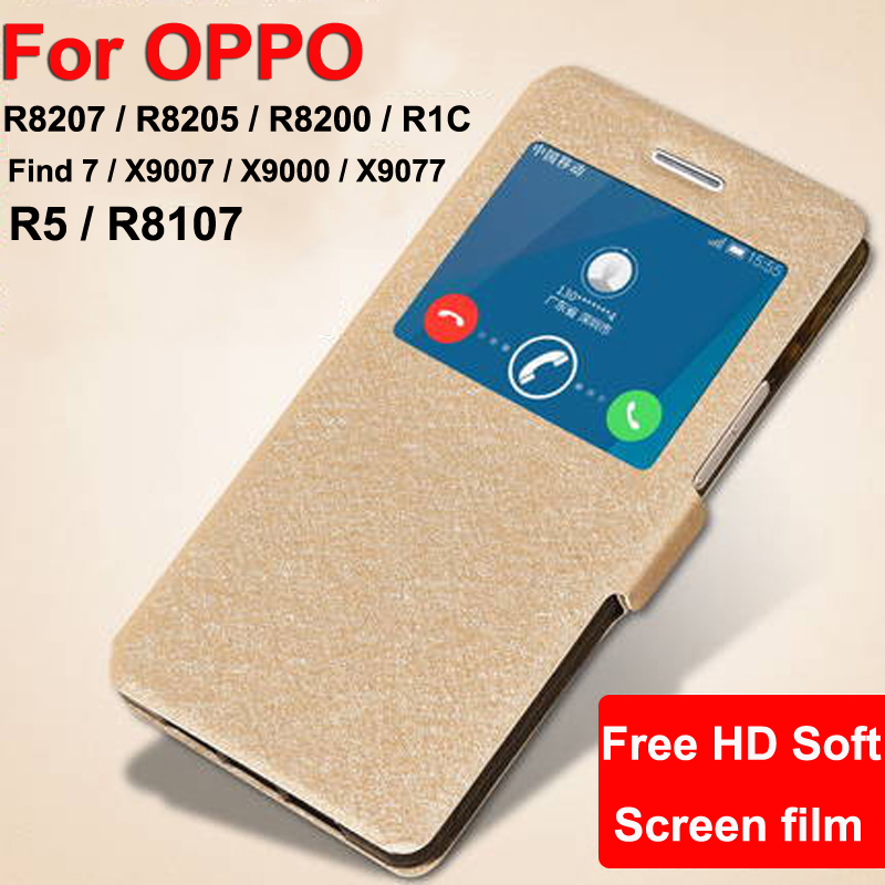 Open window leather <font><b>case</b></font> For <font><b>OPPO</b></font> <font><b>Find</b></font> <font><b>7</b></font> R8207 X9007 R5 R8107 phone <font><b>cases</b></font> Find7 R8205 R8200 R1C X9000 X9077 flip <font><b>case</b></font> cover image