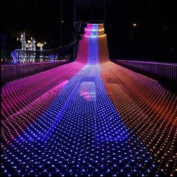 Led Net Licht 4 mt x 6 mt 220 v Hochzeit Dekoration Weihnachten Fee String Licht Outdoor Urlaub Festival Im Freien garten lampe