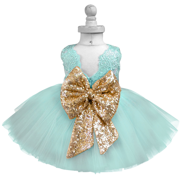 59dc78fb3ef5 Baby Frock Designs Lace Christening Gown Gold Bow Baby Girl 1 Year ...