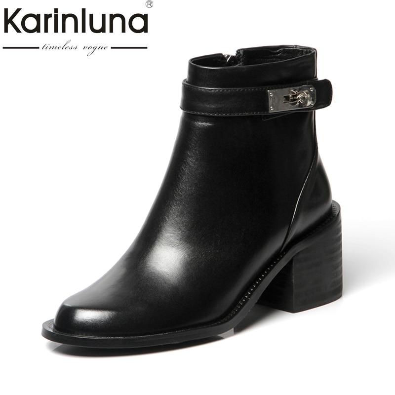 где купить KARINLUNA Genuine Leather Plus Size 33-40 Zip Up Square Heel Women Shoes Woman Boots Casual Black Winter Western Boots Add Fur по лучшей цене